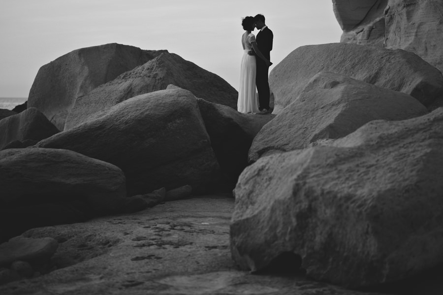 silhouette black and white wedding portrait