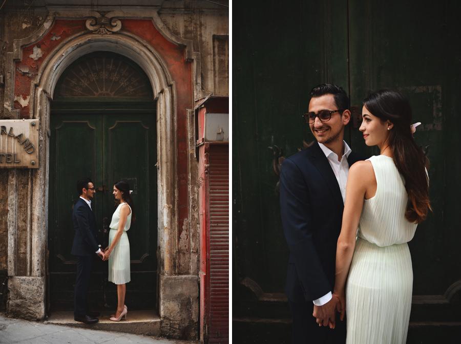 Engagement portrait in Valletta with beautiful door- Zácsfalvi Gyula