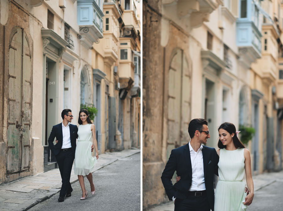Engagement portrait in Valletta with Maltese balconies- Zácsfalvi Gyula