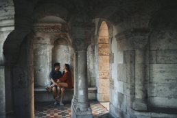 couple in love in fishermens bastion budapest