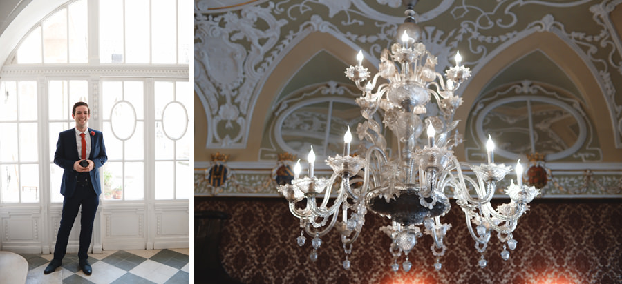 Civil ceremony registry office chandelier Castle District Budapest