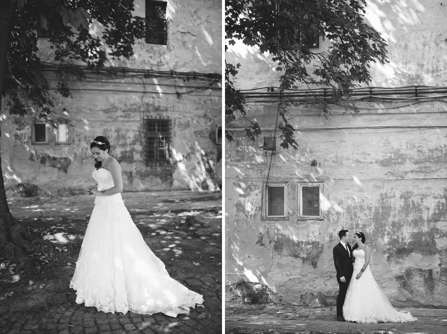 wedding portrait in front of run down building, Obuda