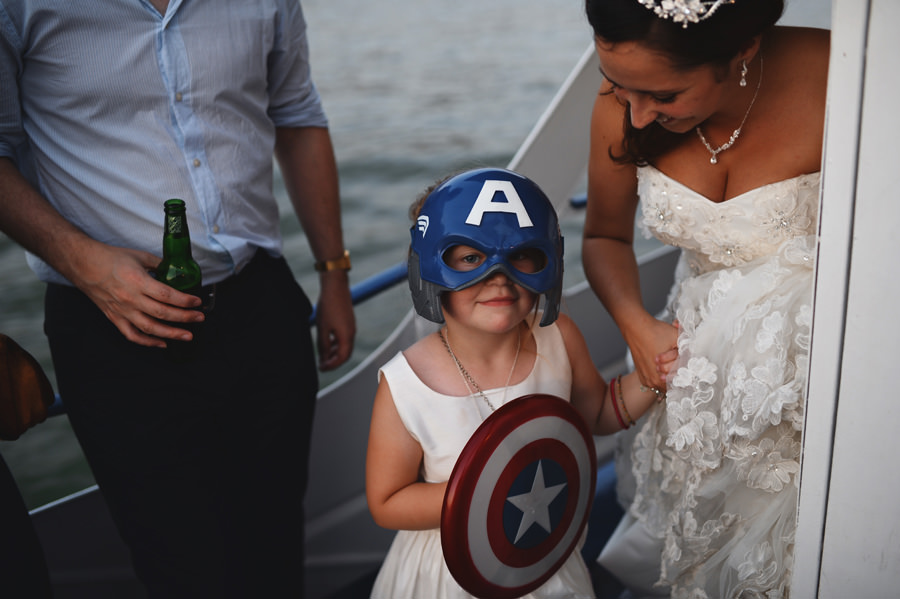 Captain America mask on a child during wedding