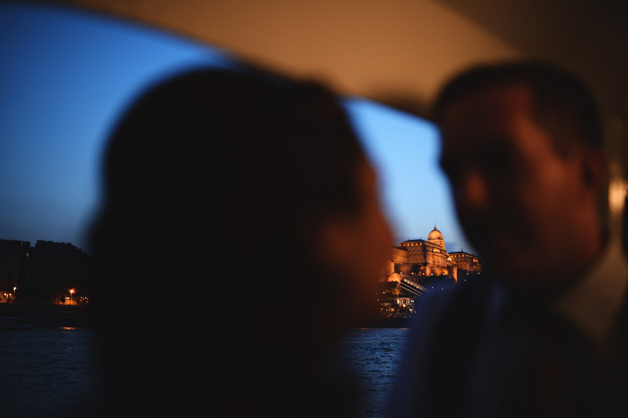 wedding portrait on a boat on the Danube, Budapest