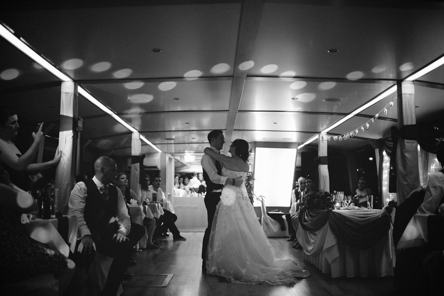 first dance on wedding on a boat on the Danube, Budapest