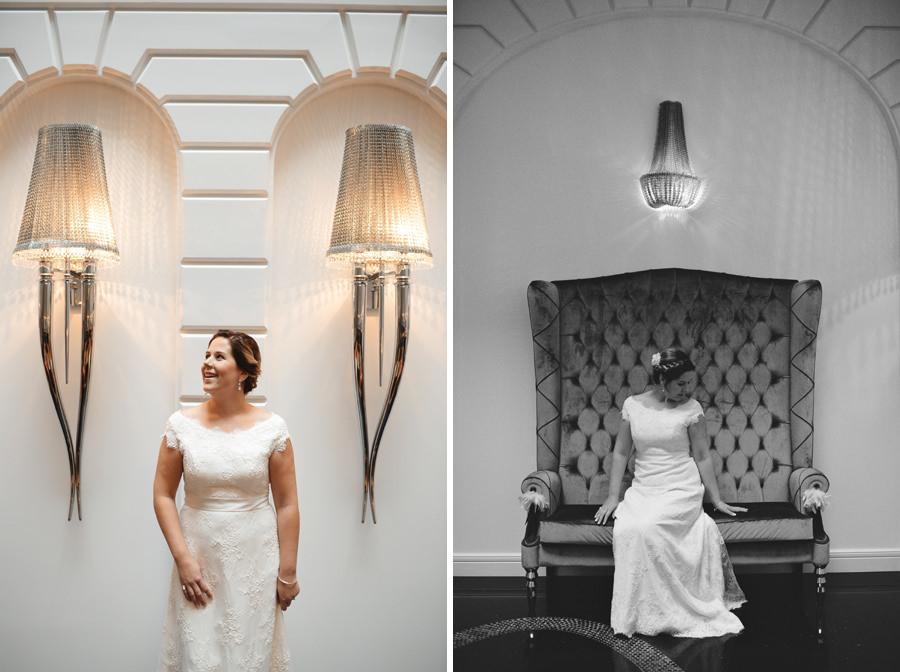 bridal portraits in hotel prestige lobby