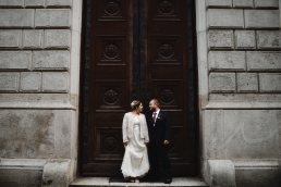 wedding portrait in front of Opera entrance