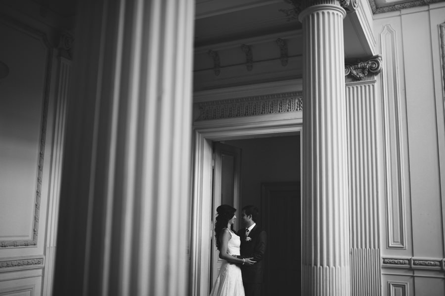 Wedding portrait In a classic building with columns