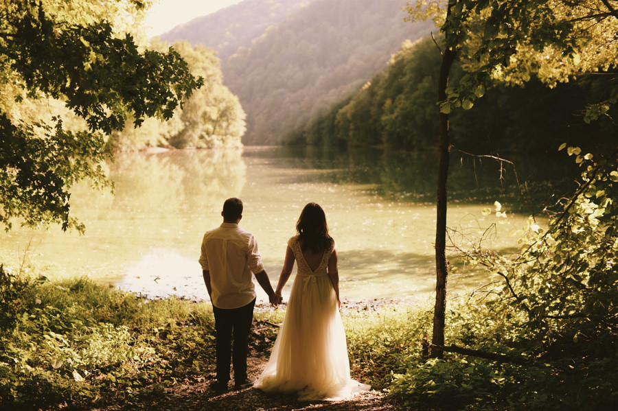 wedding couple with a lake