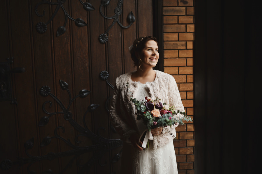 Bridal portrait just before entering the church