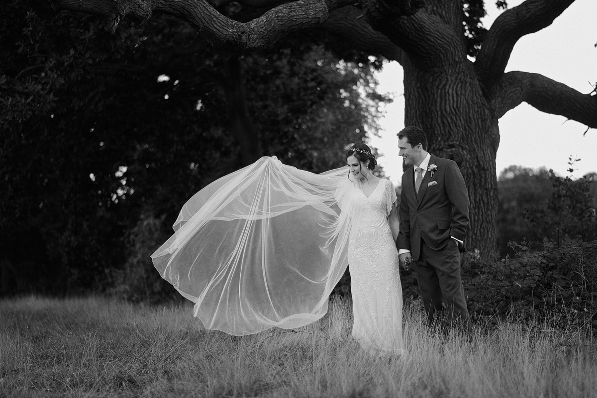 Wedding photographer London - flying veil portrait of bride