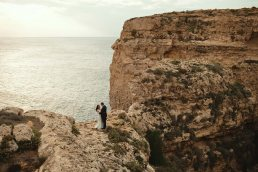 Mtahleb Malta wedding couple portrait by the sea