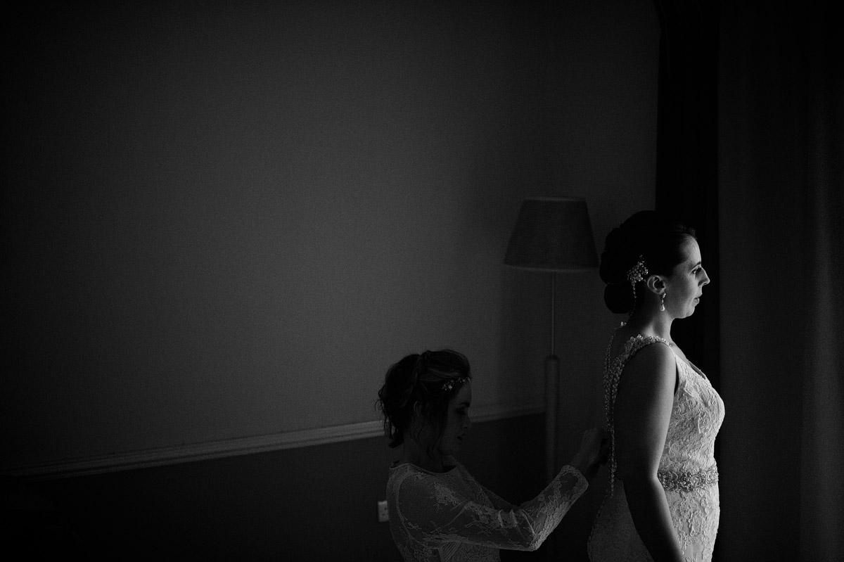 Bride getting ready at Olive Garden wedding
