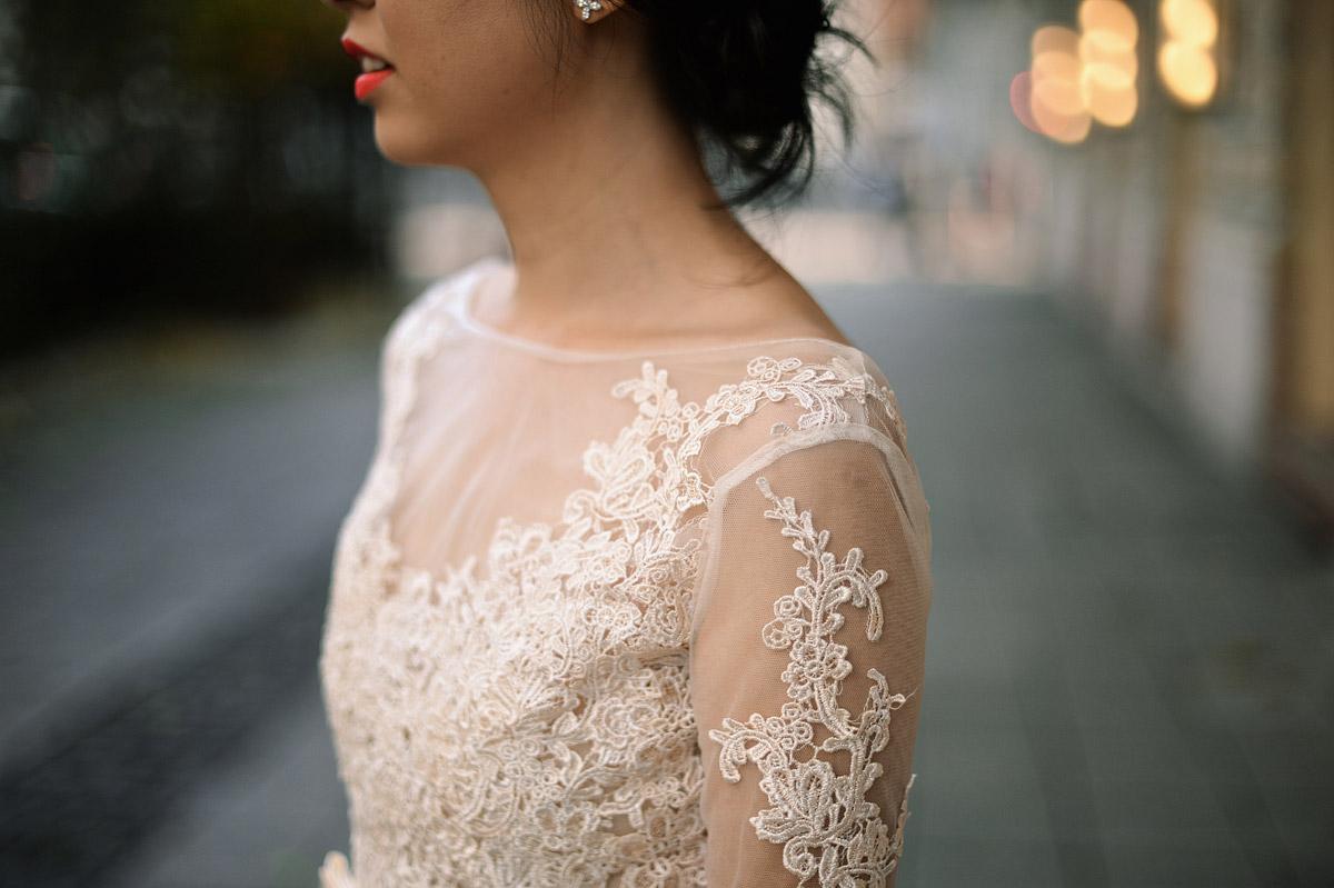 pre-wedding photoshoot Budapest Opera, wedding dress detail
