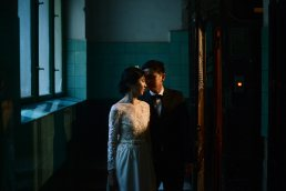 Pre wedding portrait in stairs of old building