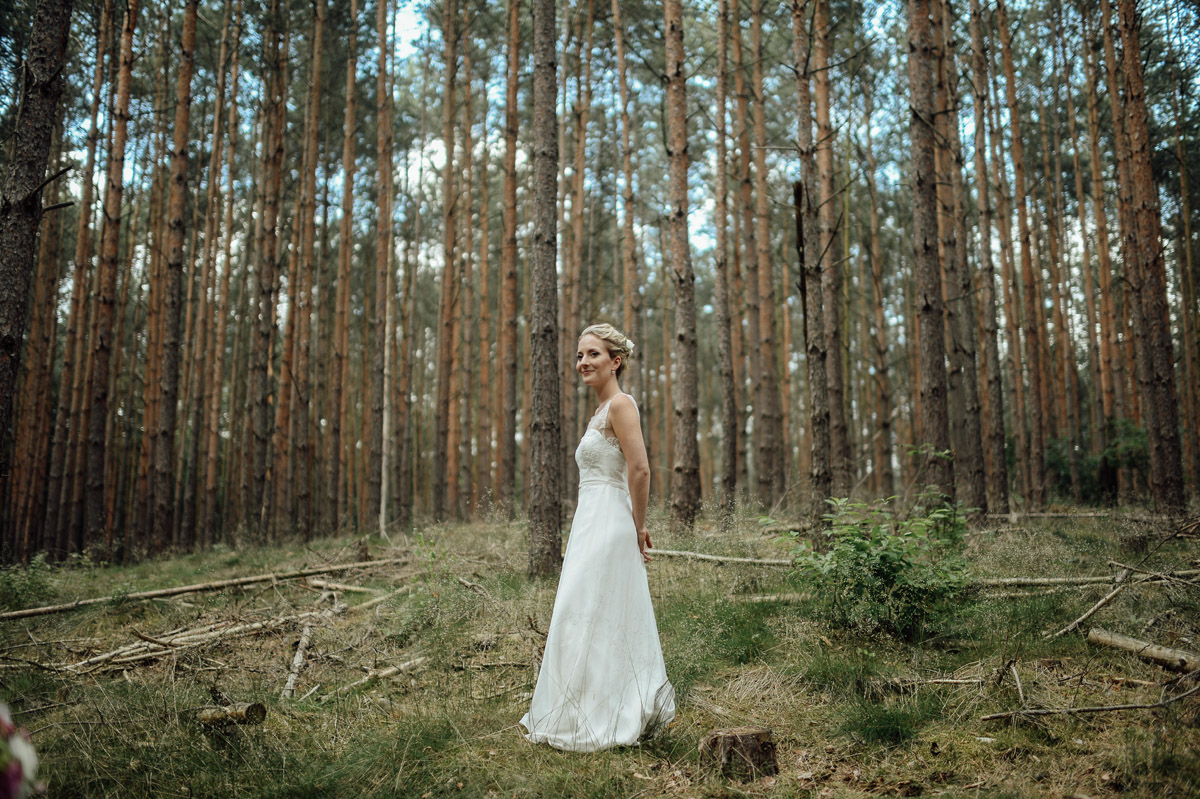 wedding bride in forest near Potsdam Germany