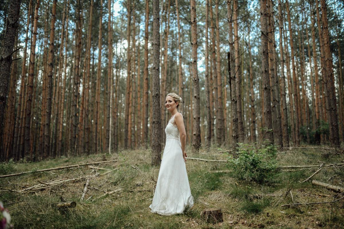 wedding bride in forest near Potsdam Germany