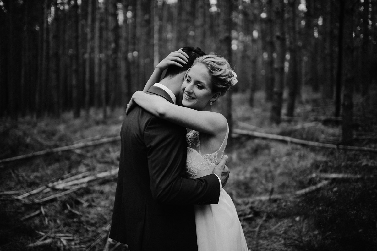 wedding couple in forest near Potsdam Germany