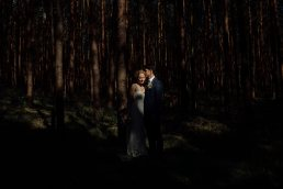 Wedding couple in forest near Potsdam