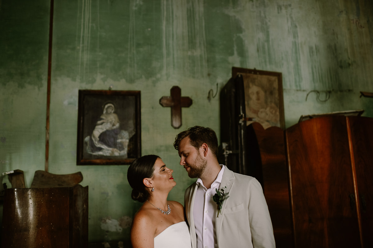wedding couple and cross