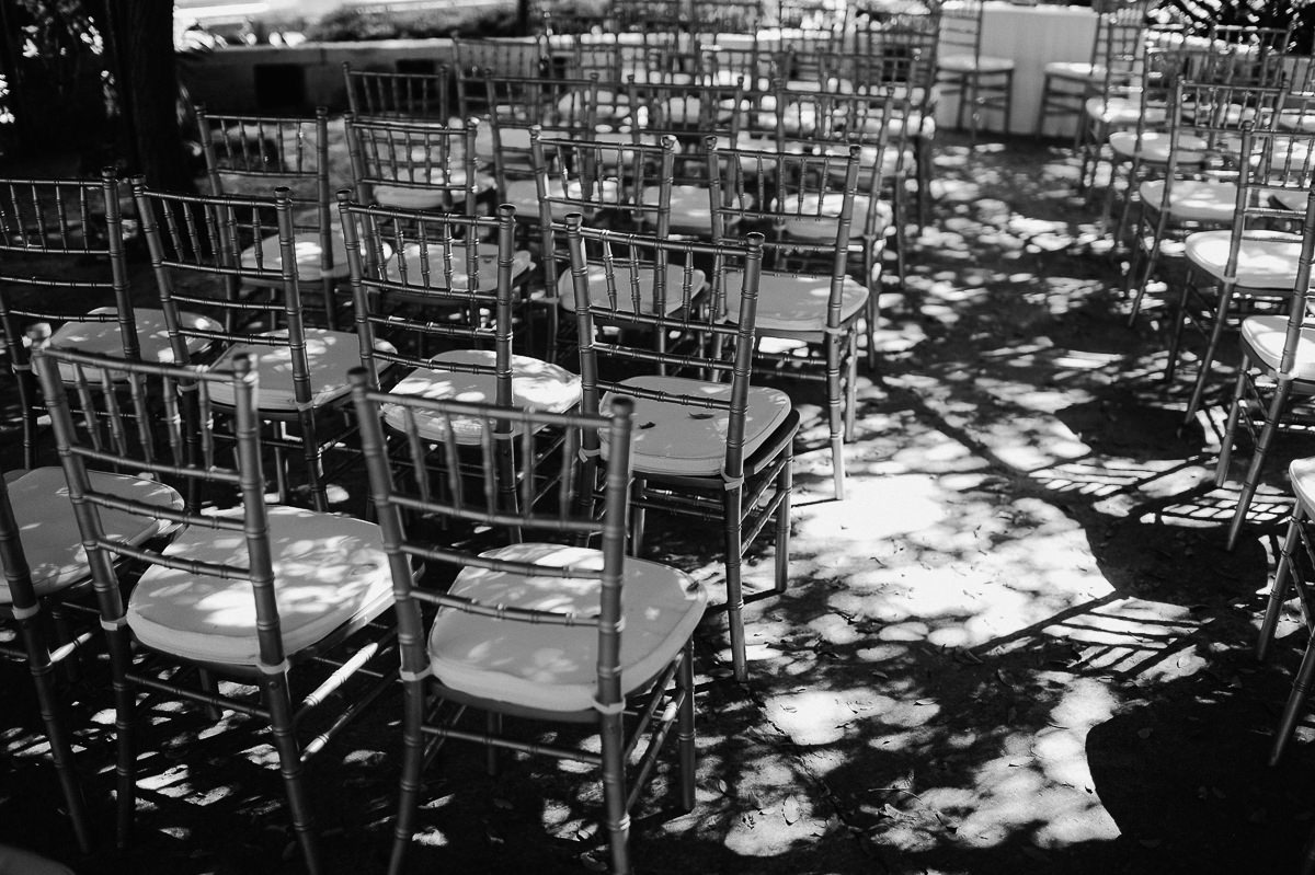 wedding chairs in a row at ceremony