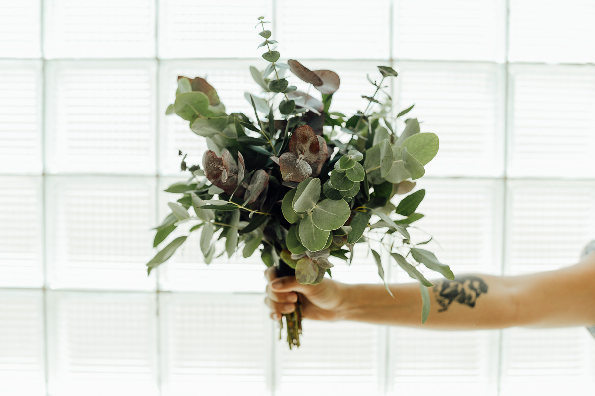 green modern wedding bouquet out of leaves