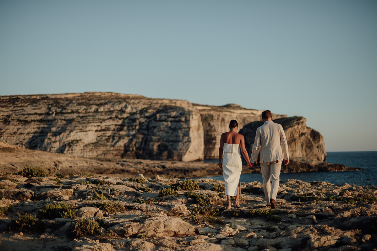 bride and couple portraits by the sea in Gozo