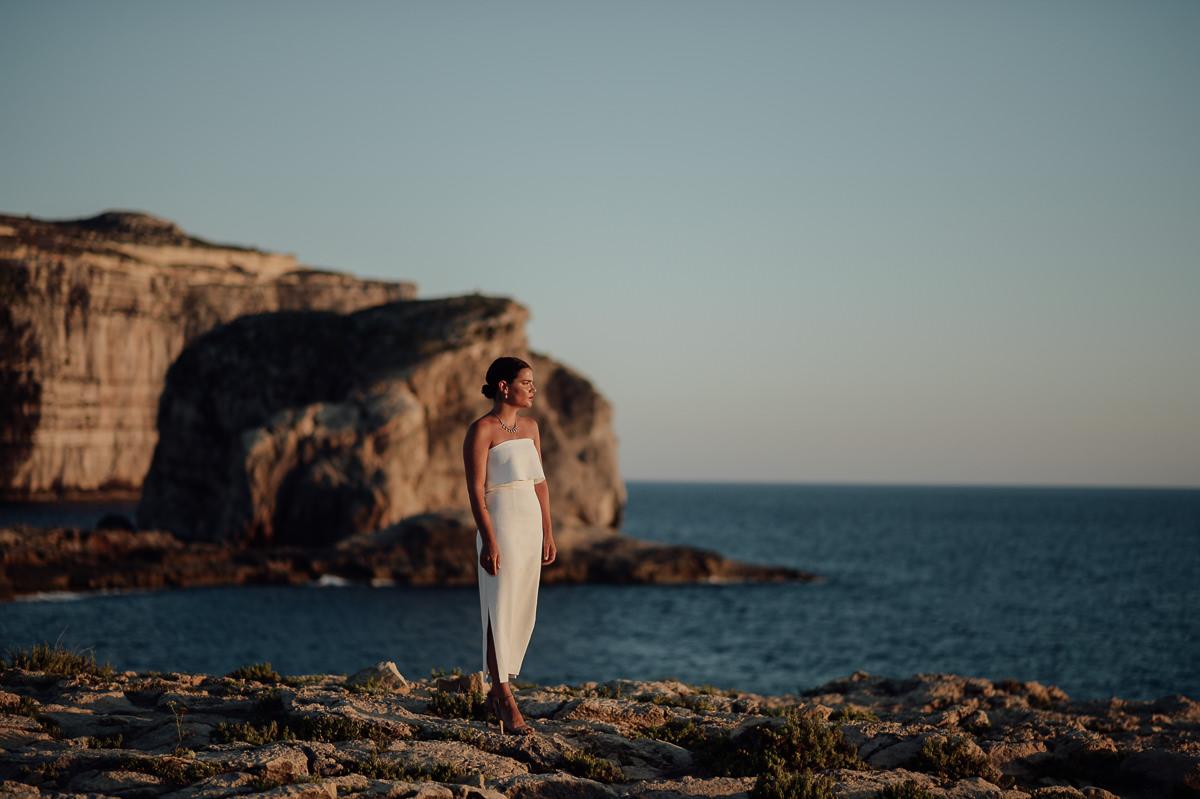 bridal portrait  by the sea in Gozo Malta