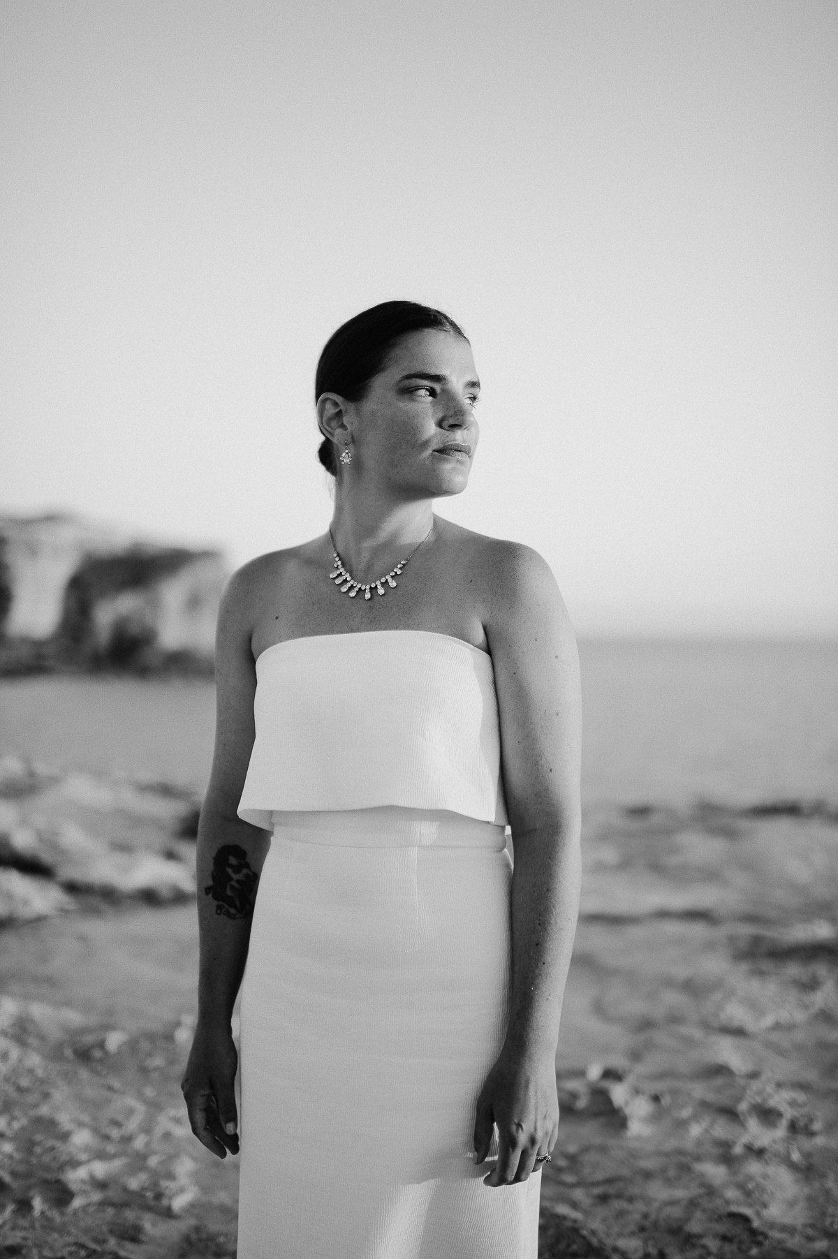 bridal portrait by the sea in Gozo Malta