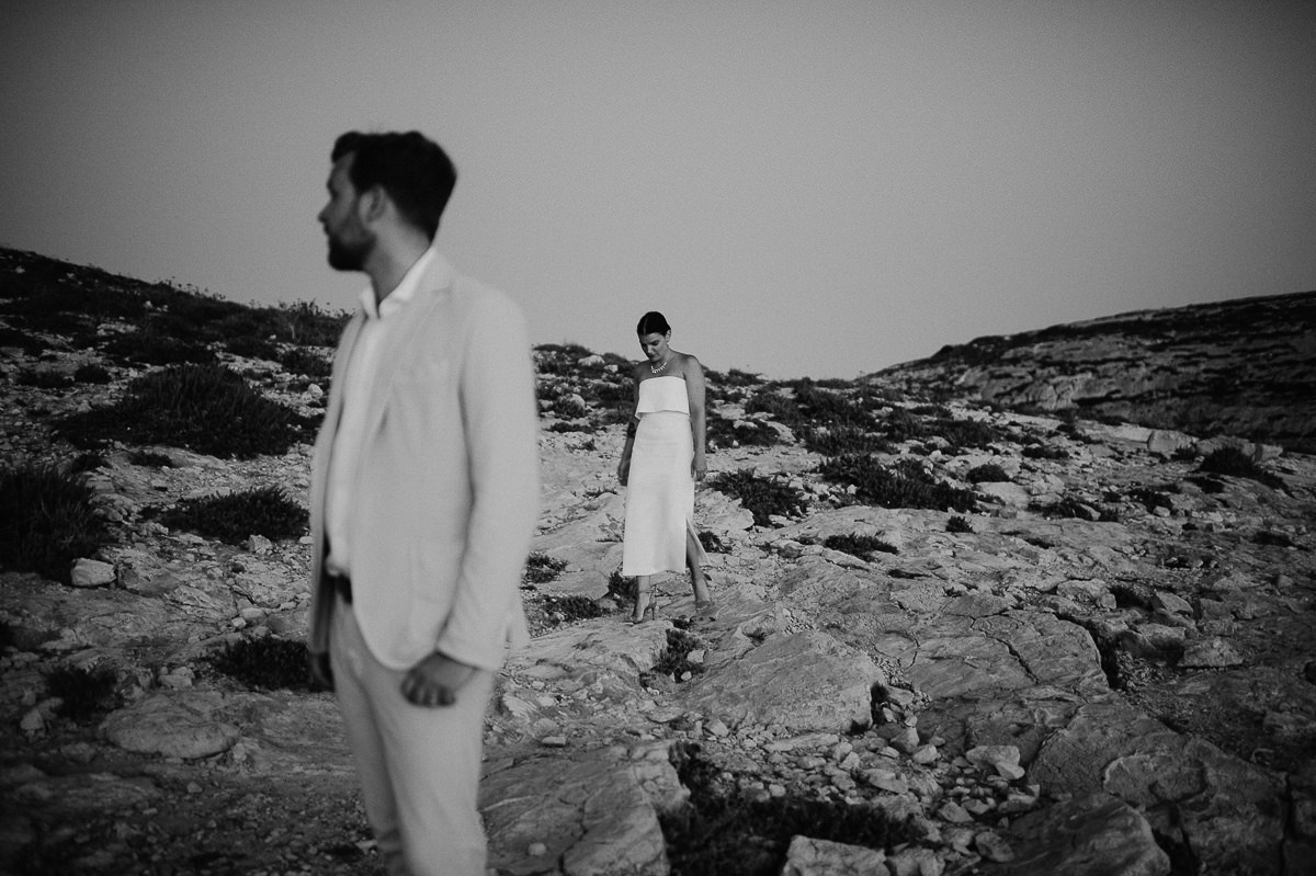 wedding couple portraits by the sea in sunset in Gozo Malta