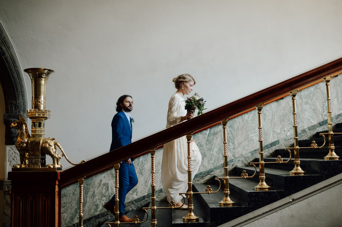 wedding portraits in City Hall Copenhagen