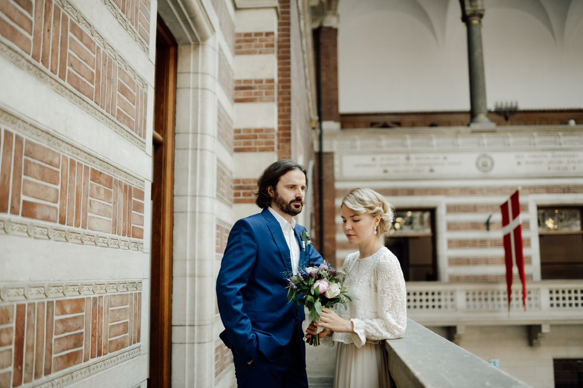 elopement wedding portraits in City Hall Copenhagen