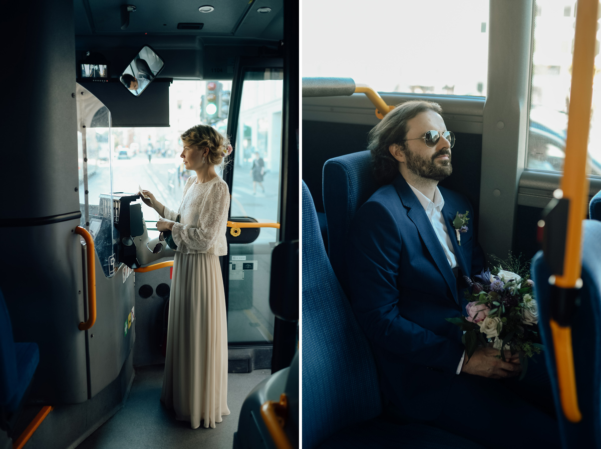Wedding couple on a public bus