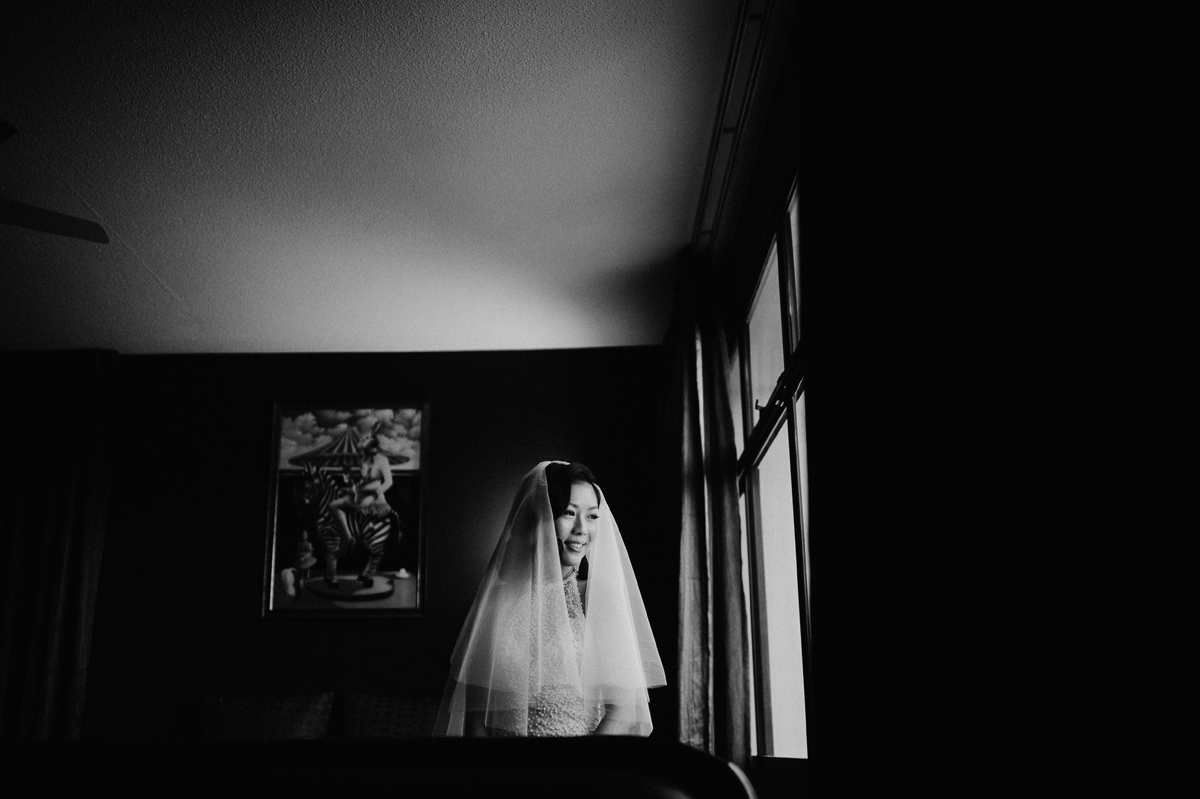 Black and white portrait of a bride in Singapore