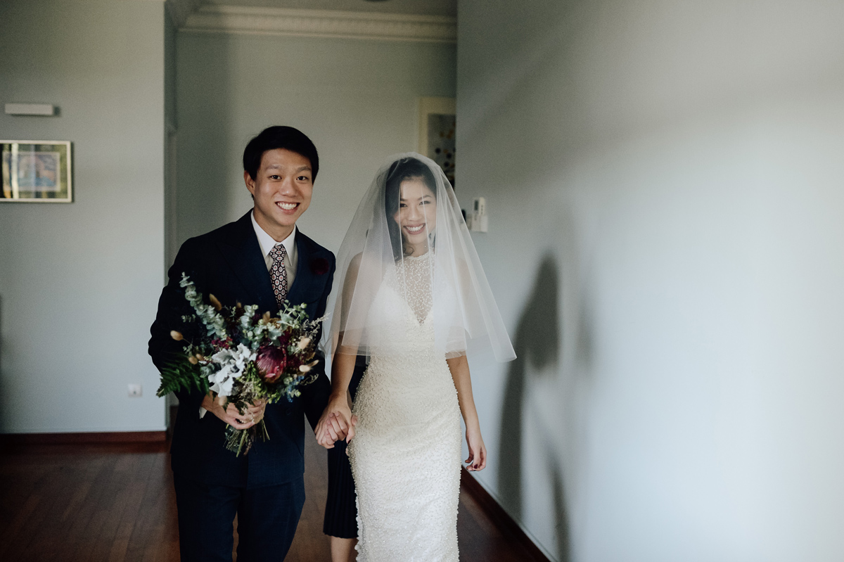 Wedding couple heading to church in Singapore wedding