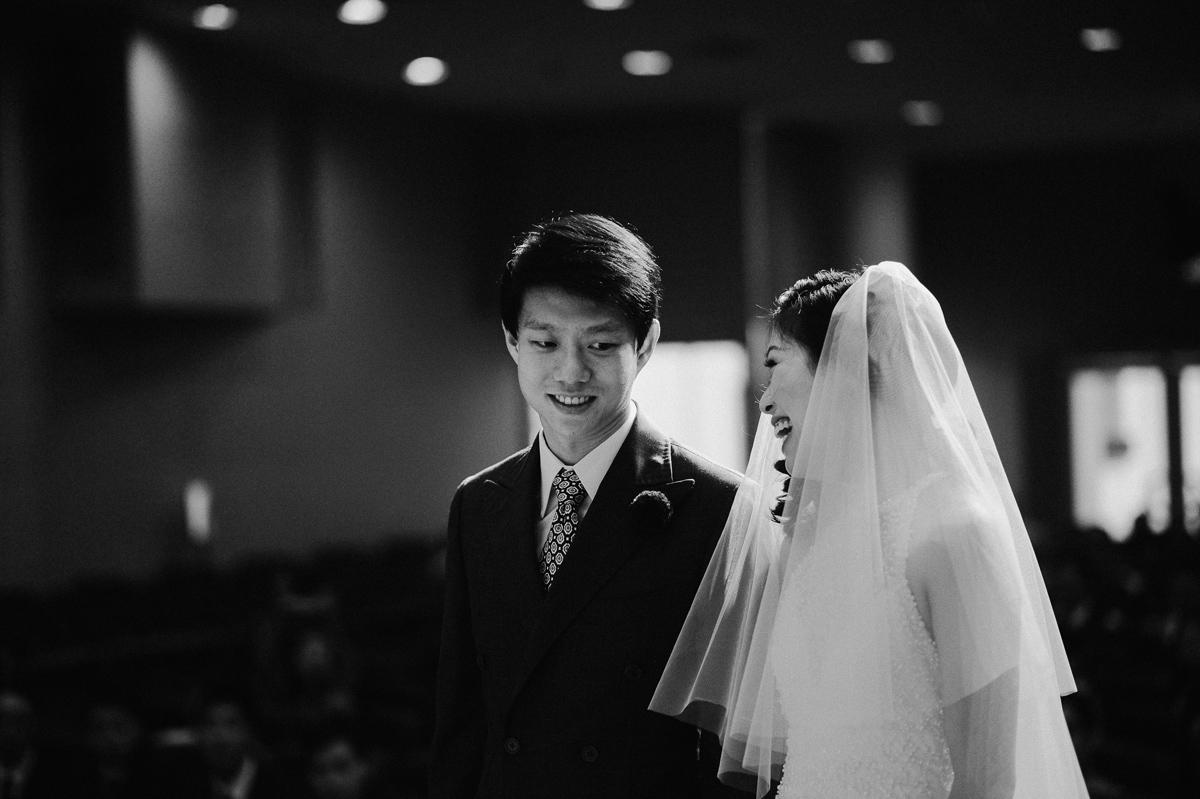 Wedding ceremony in St James church in Singapore wedding