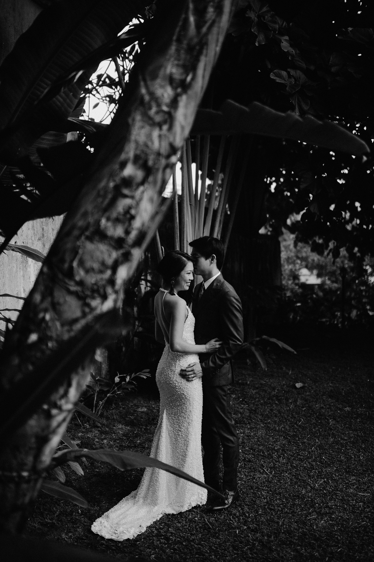 Black and white wedding couple portrait in Singapore