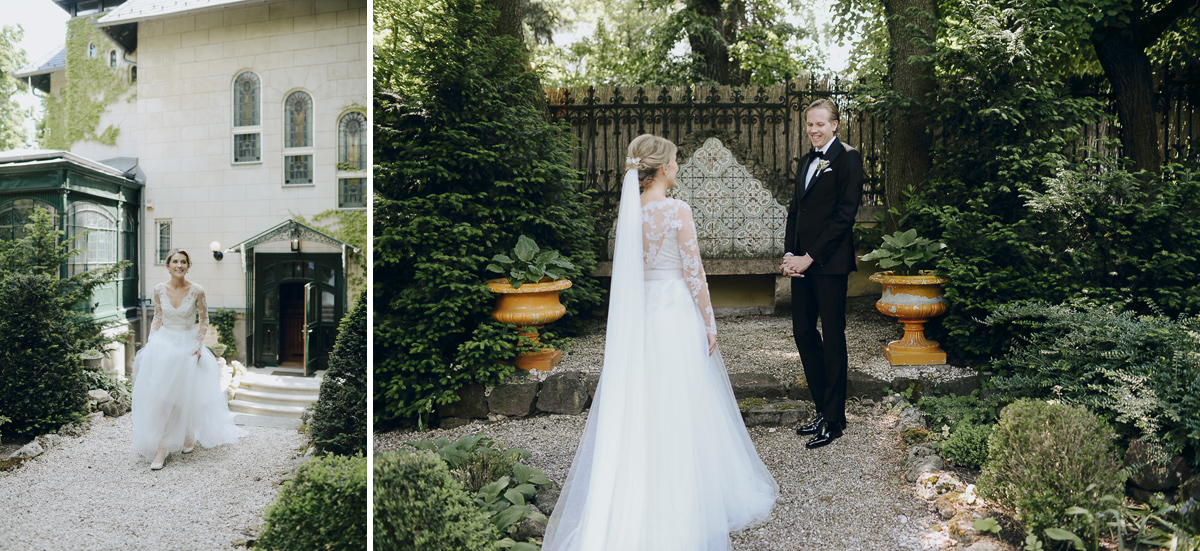 Wedding couple first look in garden of Writer's Villa