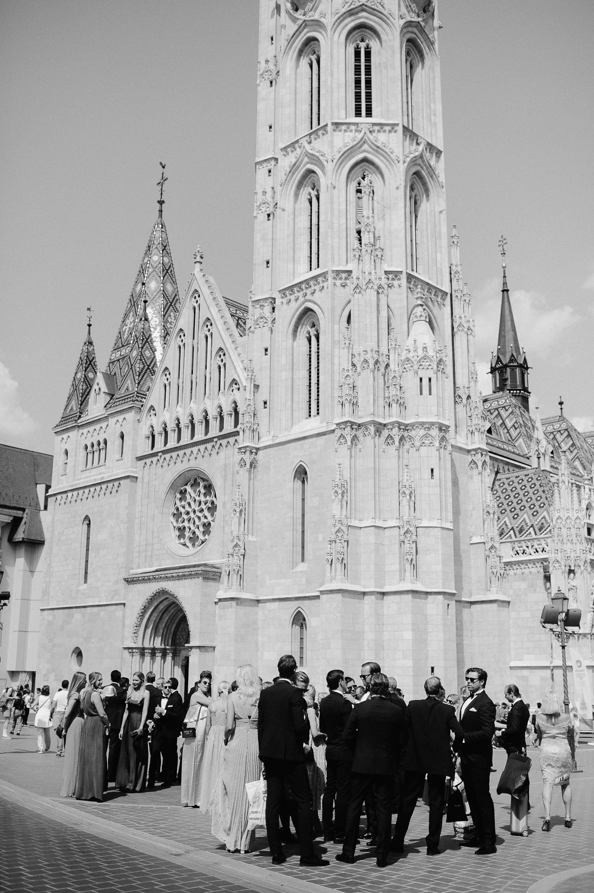 Wedding guests standing in front of St Matthias church Budapest