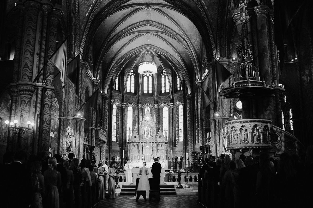 Wedding ceremony in St Matthias Church Budapest photography