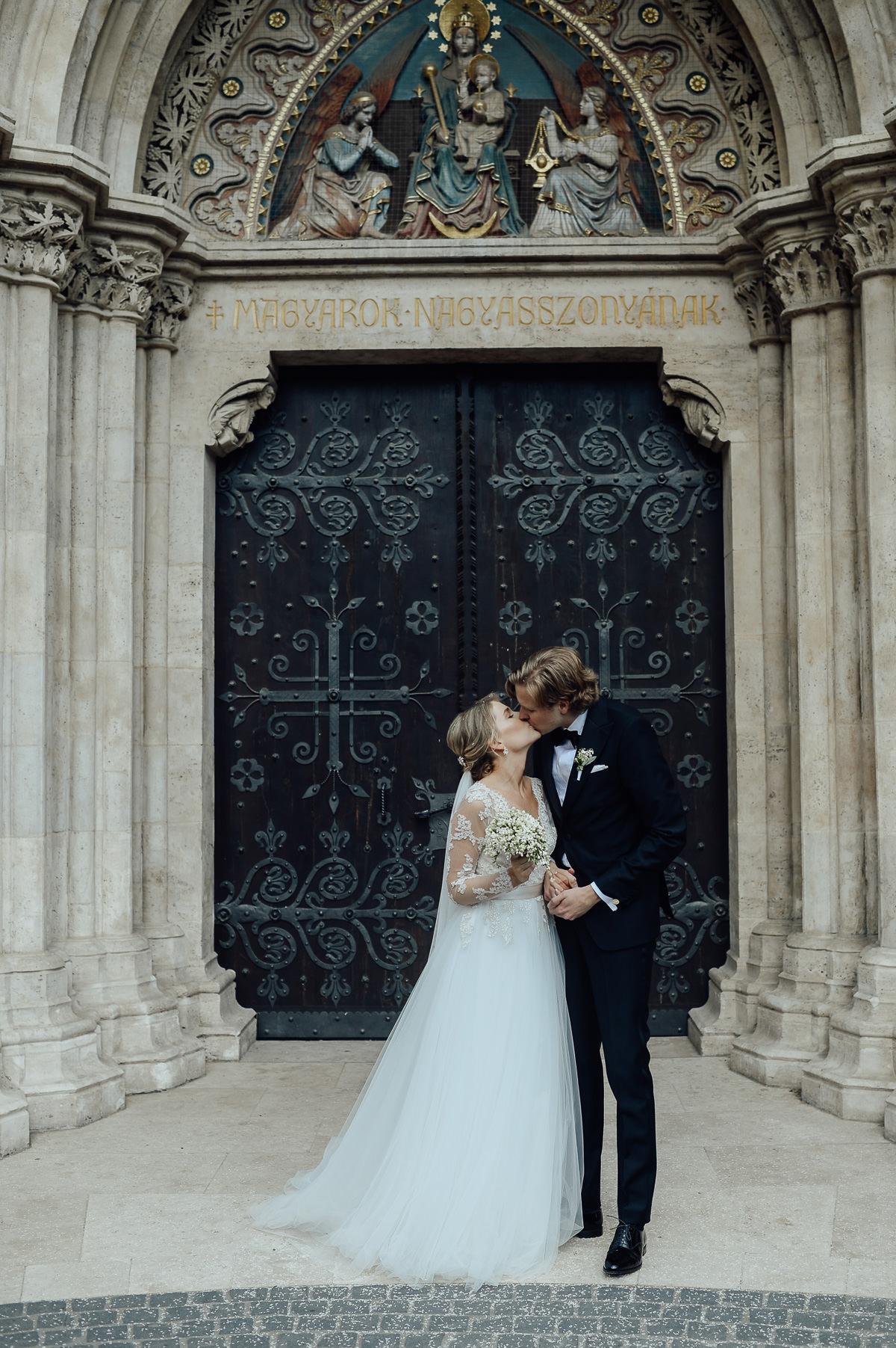 Wedding couple at St Matthias Church