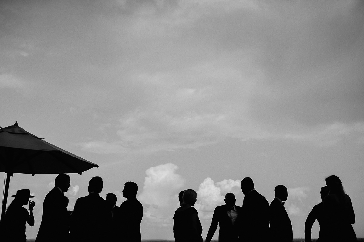 Wedding guests silhouette