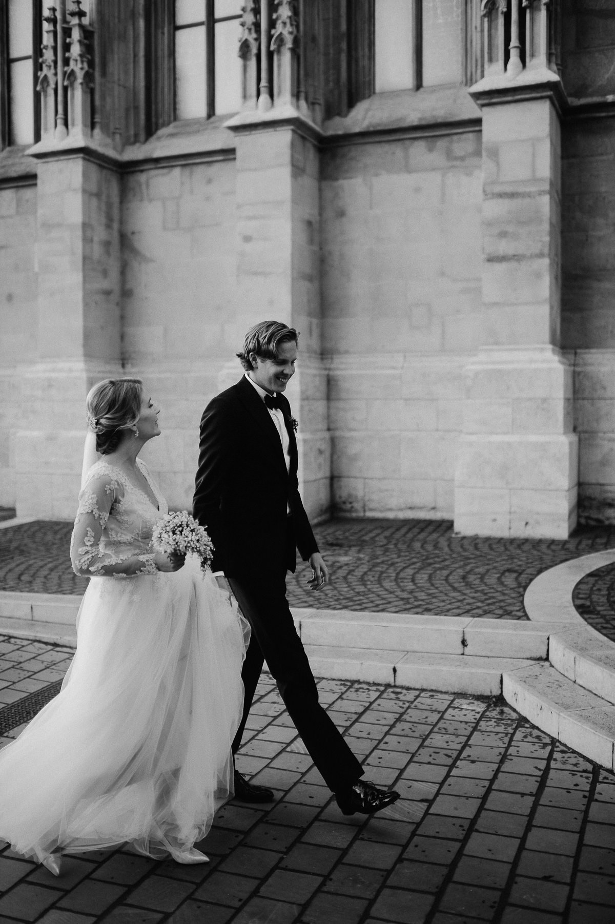 Black and White Wedding couple photos at St Matthias Church