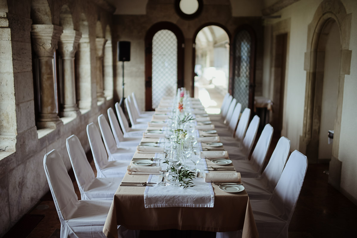 Fishermans Bastion restaurant wedding dinner set up