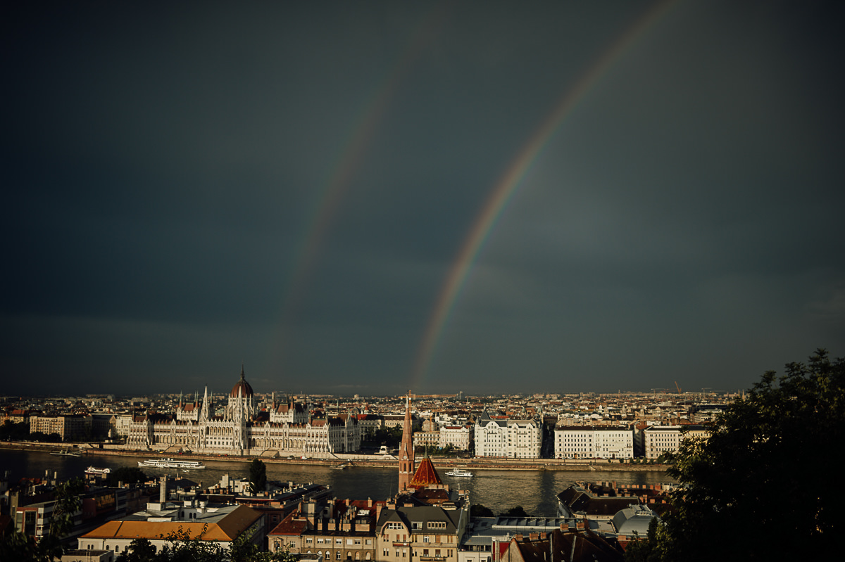 Double rainbow over River Danube in Budapest