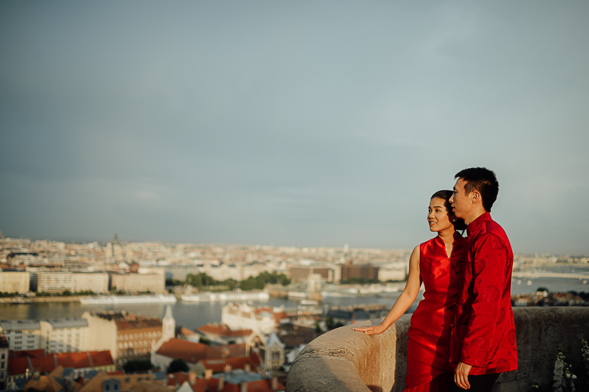 Wedding couple portrait at Fishermans Bastion