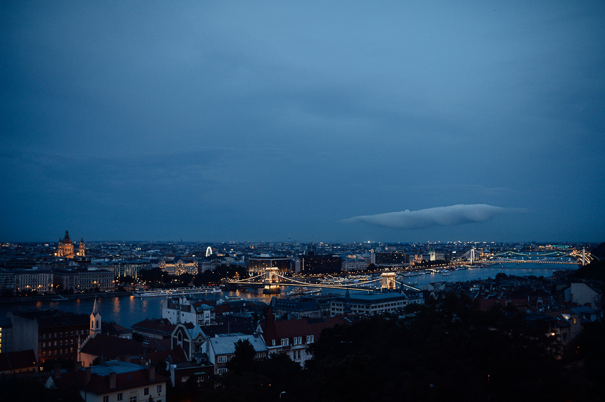 night time view iof Budapest Chain bridge