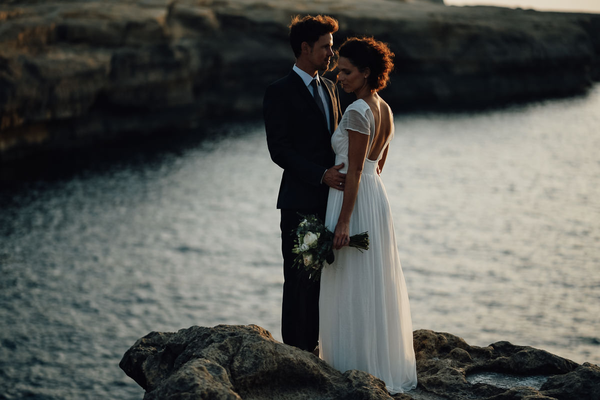 Wedding couple portrait in Gozo by the sea