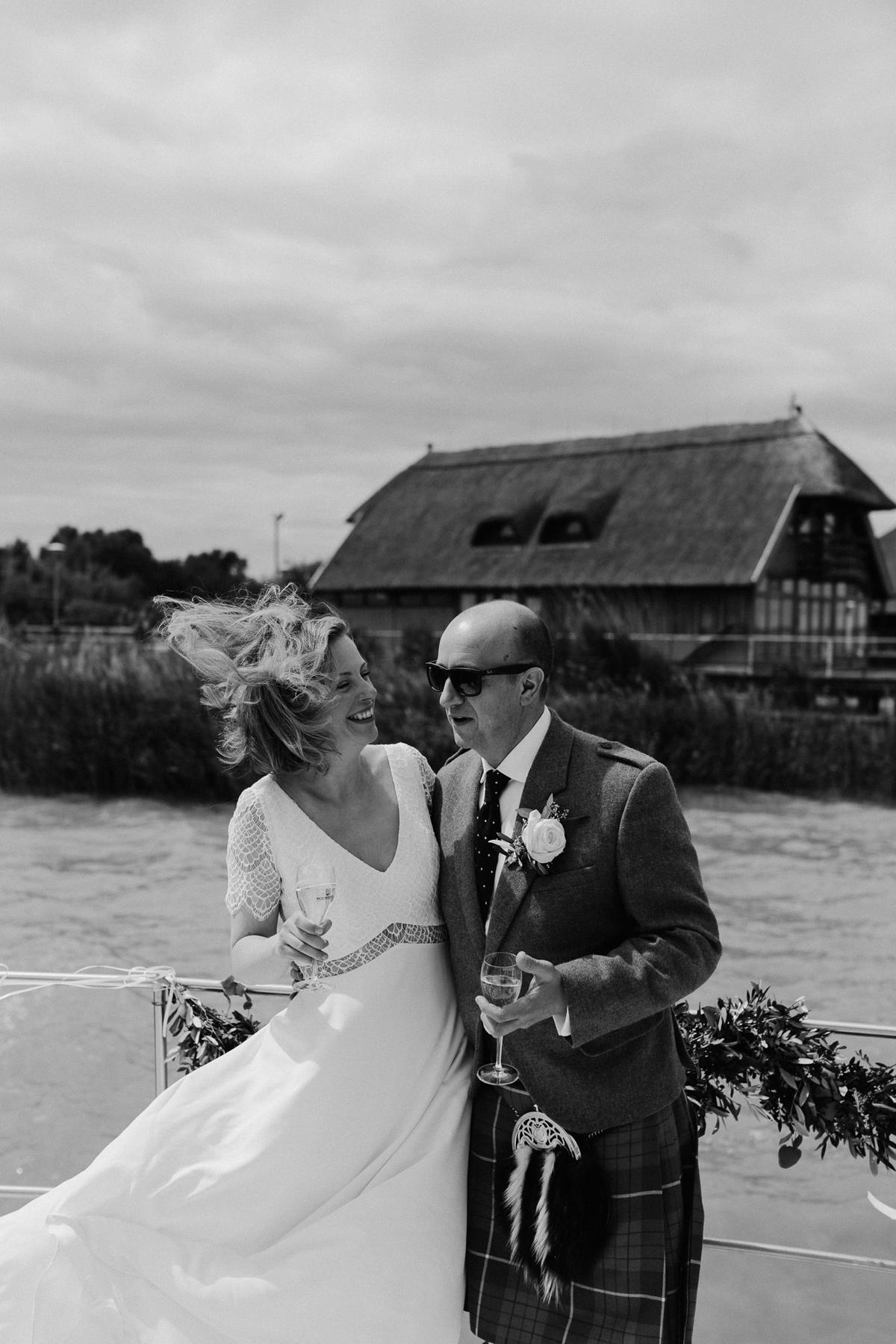 boat ride on Ferto lake, Neusiedl Lake, with wedding couple
