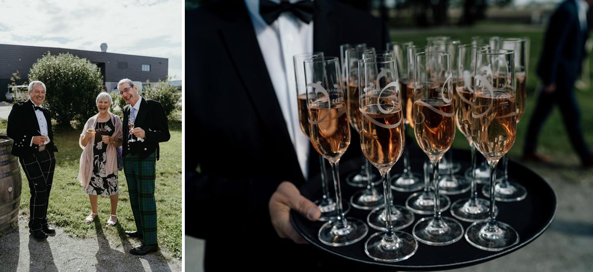 Kalandahaus Esterhazy Winery wedding reception, champagne glasses